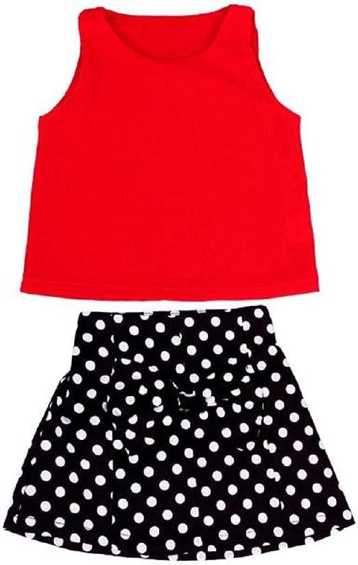 Kids Baby Girls Clothes Vest Pleated Dress Chiffon Top Dot Short Skirt 2Pcs Outfits Set