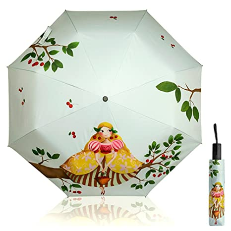 Las Mujeres Paraguas de Sol Niños Plegables Protección UV Creativo 3D Impreso Impresión de Dibujos Animados