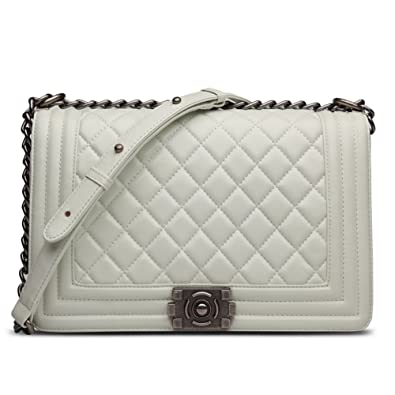 Ainifeel Women's Genuine Leather Quilted Handbags with Chain Strap ... : quilted leather bags - Adamdwight.com
