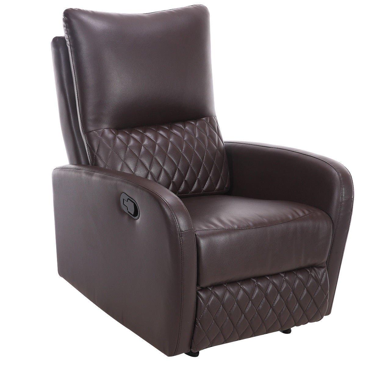 Giantex Recliner Chair Manual PU Leather Ergonomic Theater Reclining (Brown)
