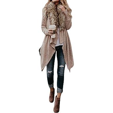 Rcdxing Desgastar Chaqueta larga de lana para mujer con cuello de piel sintética Ropa de abrigo