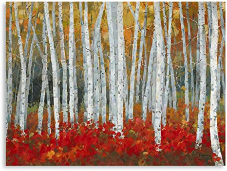Amazon Com B Blingbling Birch Tree Canvas Wall Art White Birch Trees With Yellow Leaves Red Brushwood Fall Decor For Home With Frame And Easy To Hang 24 X32 X1 Panel Posters Prints