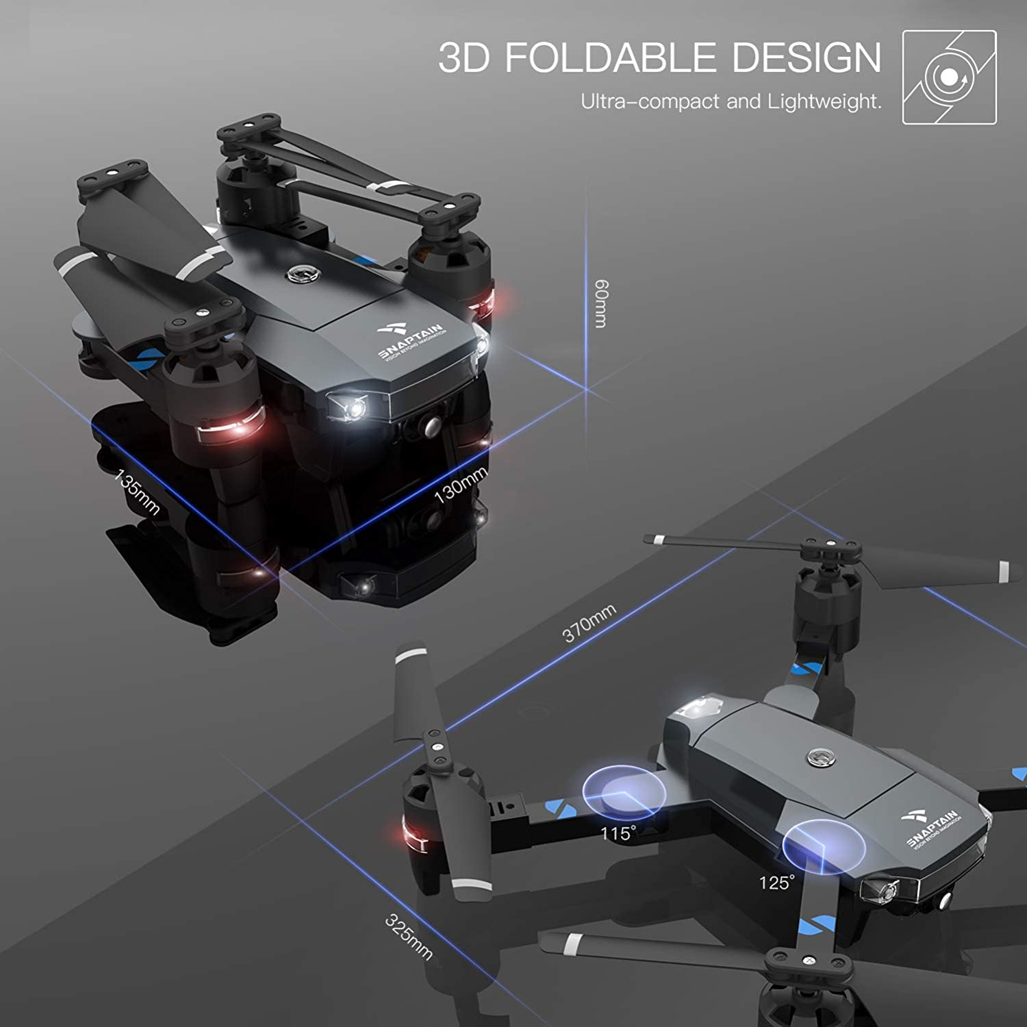 snaptain a15 foldable fpv wifi drone review