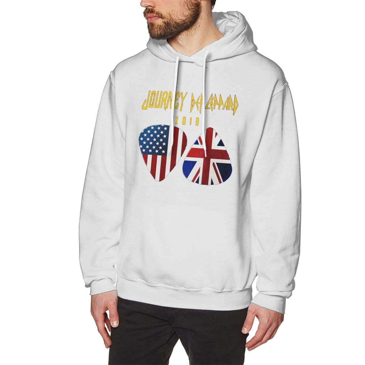 Mens Hooded Sweatshirt National Flag Oversized Classic Print Casual White 3XL