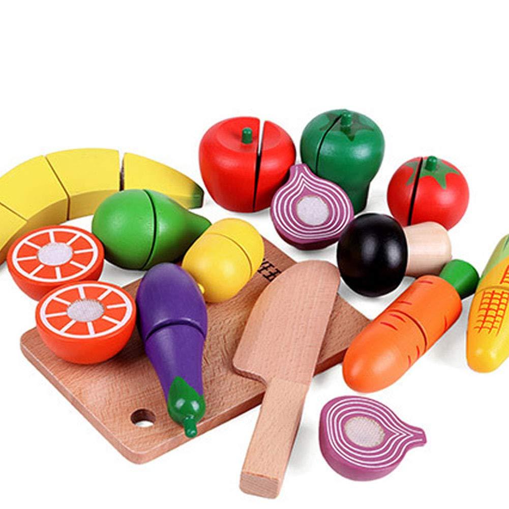 Beito Divertente in Legno Taglio Cucina Giocattolo Frutta e Verdura Set Simulazione Alimentare fingere di Giocare con Cibo e Tagliere 10Pcs