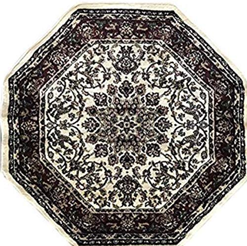 Deir Debwan Traditional Octagon Persian 330,000 Point Oriental Area Rug Ivory Burgundy Green Design 603 (4 Feet X 4 Feet