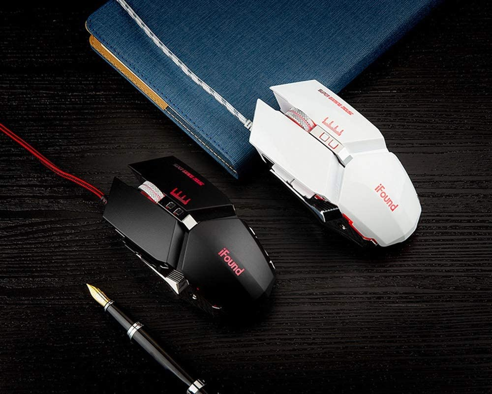HBBOOI Mechanical Glowing Mouse 6 Programmable Keys RGB Colorful Backlight Optical Metal Gaming Mouse for PC Computer Laptop Notebook Color : White