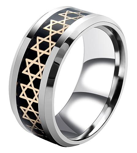AMSENC Jewish Star of David Ring for Men's Women Stainless Steel Christmas Ring Size: 6-13 (White, 8)