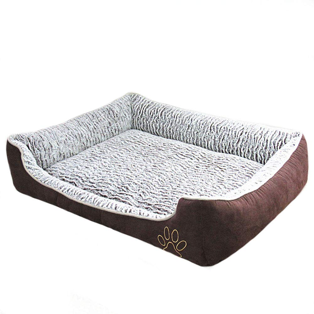 Medium Deluxe Coffee color Dog Bed Cat Bed for Small Medium & Large Dogs, Using Fur pink Velvet, Oxford Frabric, High-Elastic PP Cotton Padding, Waterproof Hardwearing, Detachable and Washable