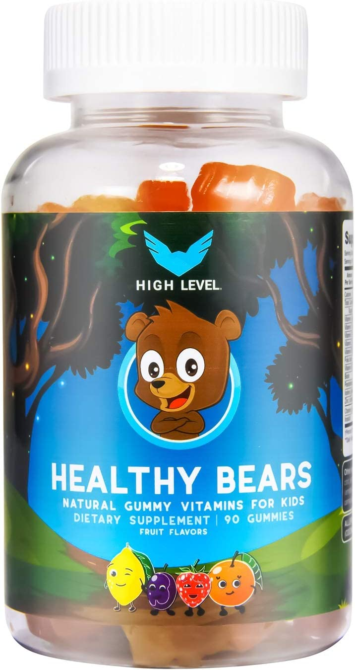 High Level Healthy Bears | Natural Gummy Multivitamins for Kids | 90 Fruit Flavored Gummies with Vitamin A, C, D, E, B-6, B-12, Folic Acid, Biotin, Zinc and More | No Artificial Colors or Flavors