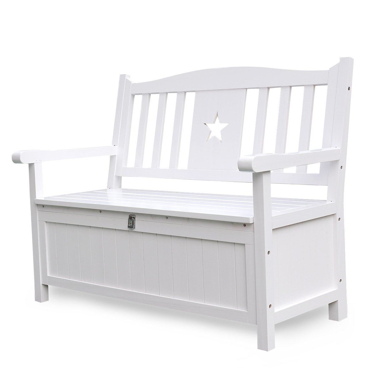 Songsen 4 Feet Wooden Storage Bench With Arm And Back Garden Storage Bench Chest Indoor Shoe Cabinet Chair, White