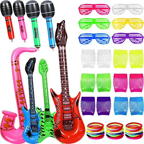 Inflatable Rock Star Toy Set, 21 Packs Inflatable