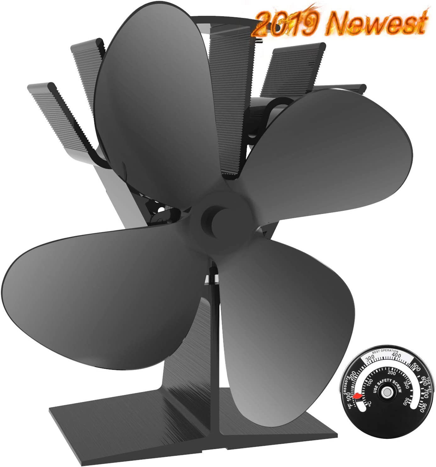 Heat Powered New2019 Model 2 Blade Stove fan Wood//log Burner Fan /& Thermometer