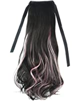 Horsetail Wig Large Pear Hot Lace-up black pink highlights S011