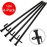 BareFour Tent Stakes, Heavy Duty Camping Stakes 12-Inch – Forged Steel Tent Pegs Unbreakable and Inflexible – Available in Rocky Place Dessert Snowfield and Grassland (Black)