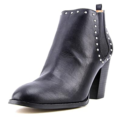 Maysonia Women Round Toe Leather Black Ankle Boot