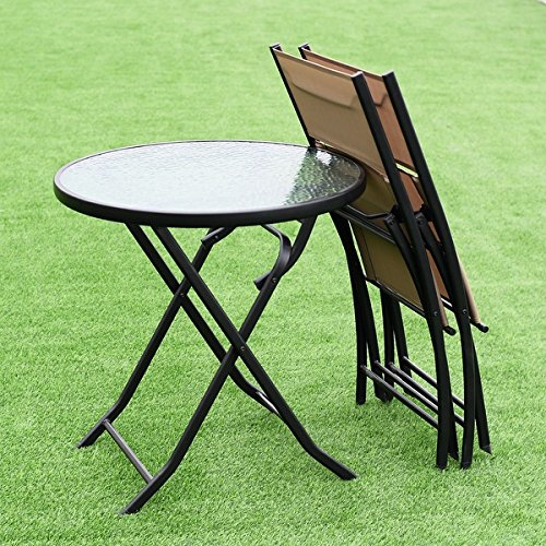 Costway 3 Piece Table Chair Set Metal Tempered Glass Folding Outdoor Patio Garden Pool by COSTWAY (Image #1)