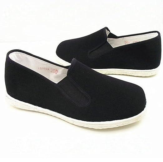 Chaussures En Daim Noir Zooboo Chaussures Homme Pratique Le Kung Fu Arts Martiaux Vêtements Matin Exercice Chaussures Noir Tai Chi, Semelles En Tissu De Coton