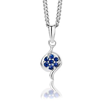 ByJoy Necklace for Women Sterling Silver pendant Blue Sapphire 45 cm chain 925 Silver okb3mjHAz