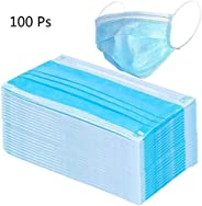 100 Pcs Disposable One Time Use Sanitary Surgical Face Masks – Thick 3 Ply Medical Mouth Masks with Comfortable Earloop – Pol