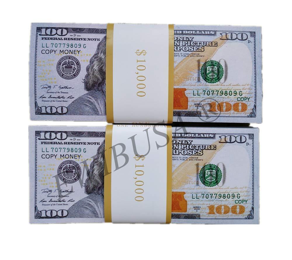 EWIBUSA Prop Money 100X100 Pcs Size : 6.14x2.59 in Prop Money Magician Porp,Movie Props by EWIBUSA