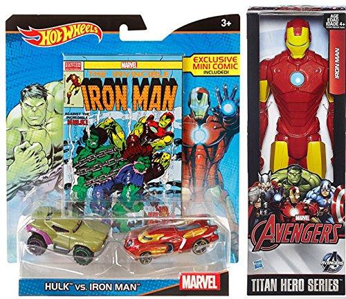 Hot Wheels Marvel Hulk vs. Iron Man Character Car 2-Pack with Mini Comic + Iron-Man Avengers Marvel Titan 12