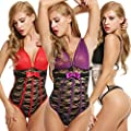 Avidlove Women Sexy Teddy Lingerie Backless Bandage with Semi-Clear Bra for Sex
