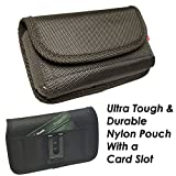 For Samsung Galaxy S9 S8 S7 S6~Sideways Holster Pouch Black Nylon Wallet Card Slot Holder With Metal Belt Clip~Fits Slim Single Layer Hybrid Cover Or Bare Phone 5.90x3.00x0.80 Inches
