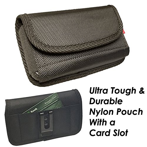 For Samsung Galaxy S9 S8 S7 S6~Sideways Holster Pouch Black Nylon Wallet Card Slot Holder With Metal Belt Clip~Fits Slim Single Layer Hybrid Cover Or Bare Phone 5.90x3.00x0.80 Inches by All_instore