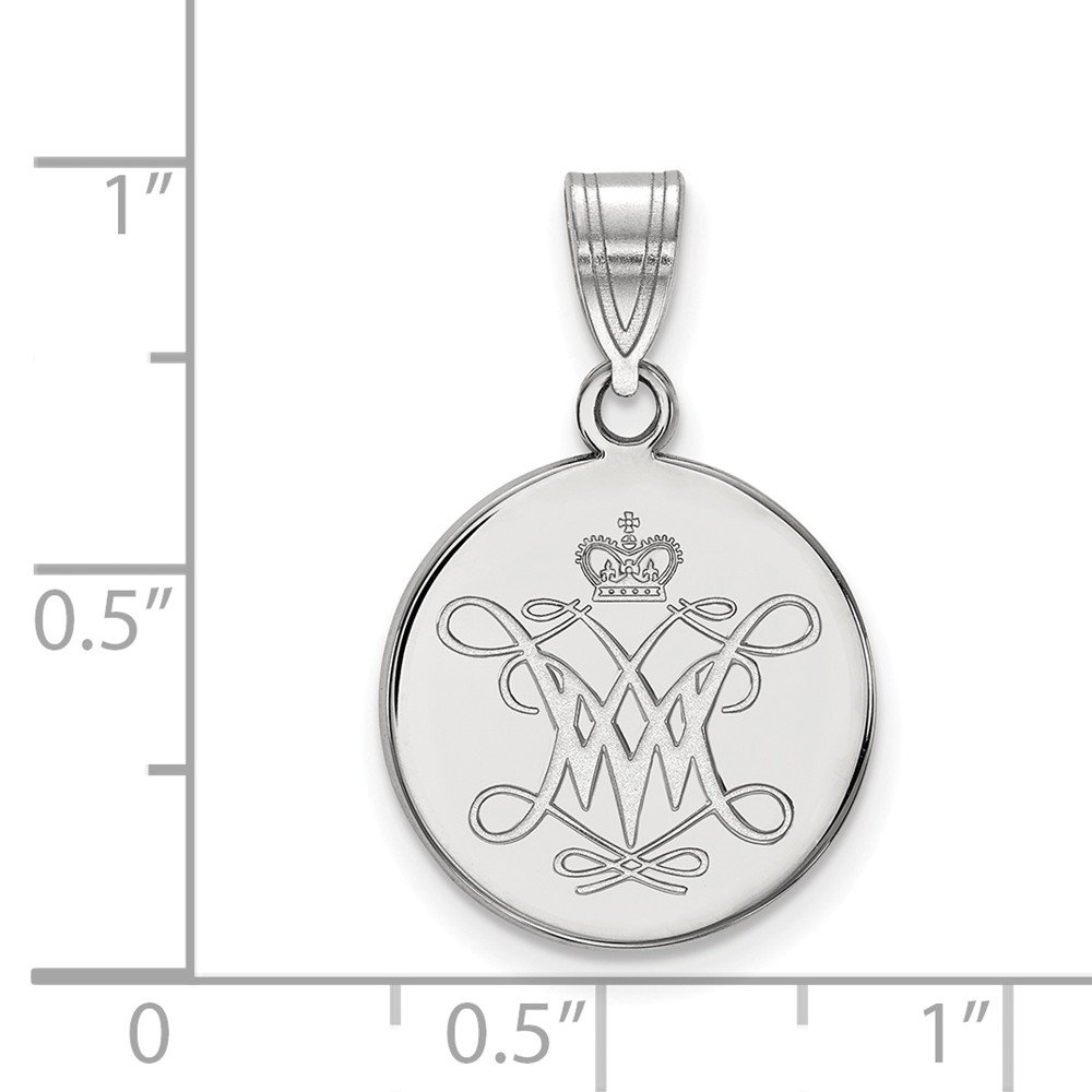 Jewel Tie 925 Sterling Silver William And Mary Medium Disc Pendant