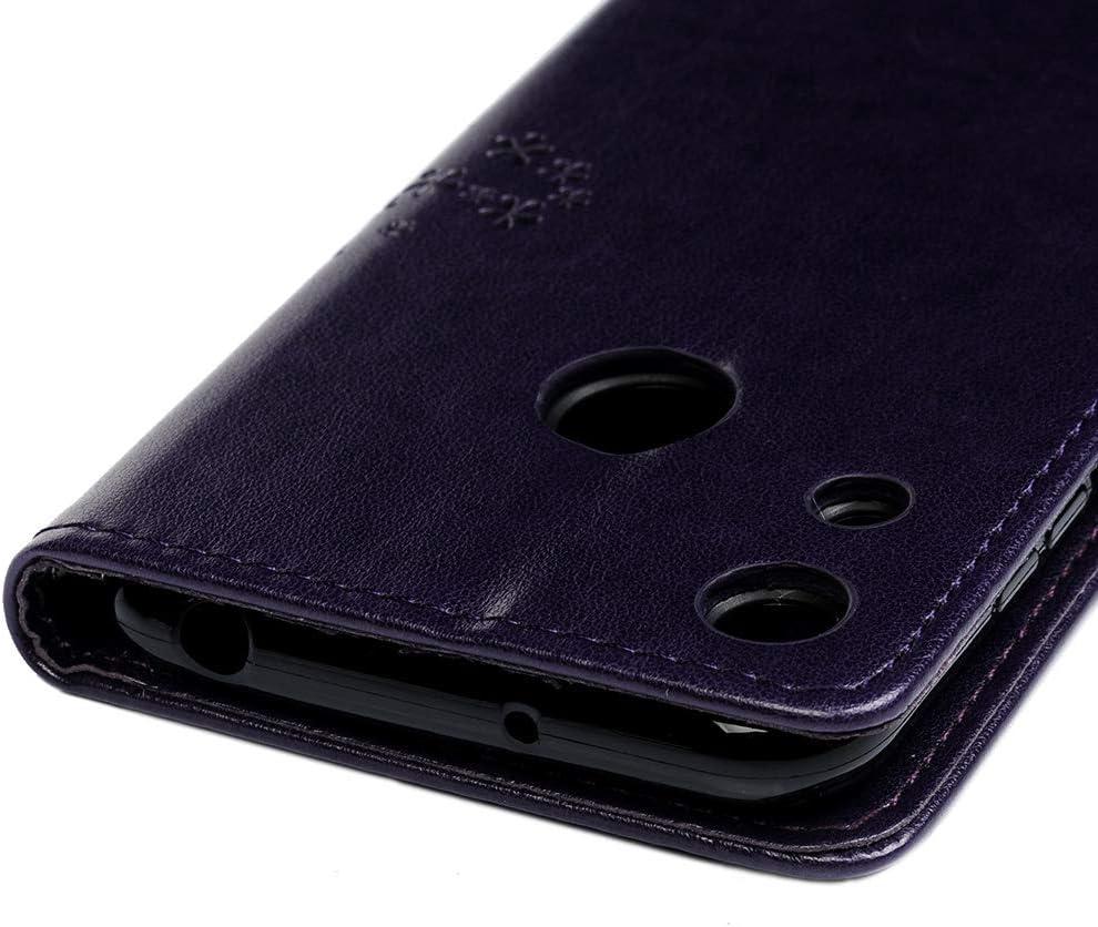 PU Housse en Cuir avec TPU Silicone Portable Case magn/étique Arbre de Hibou en Relief avec Boucle /à lavant Cover Coques Bleu GuardGal Coque pour Huawei Honor 8A