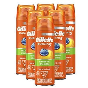 Gillette Fusion5 Ultra Sensitive Shave Gel, 7oz, Pack of 6