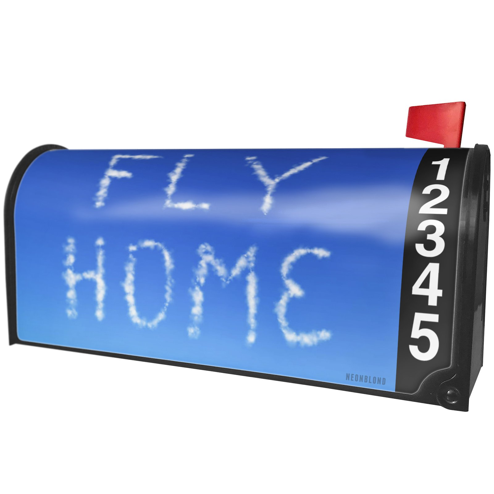 NEONBLOND Fly Home Clouds Fresh Air Magnetic Mailbox Cover Custom Numbers