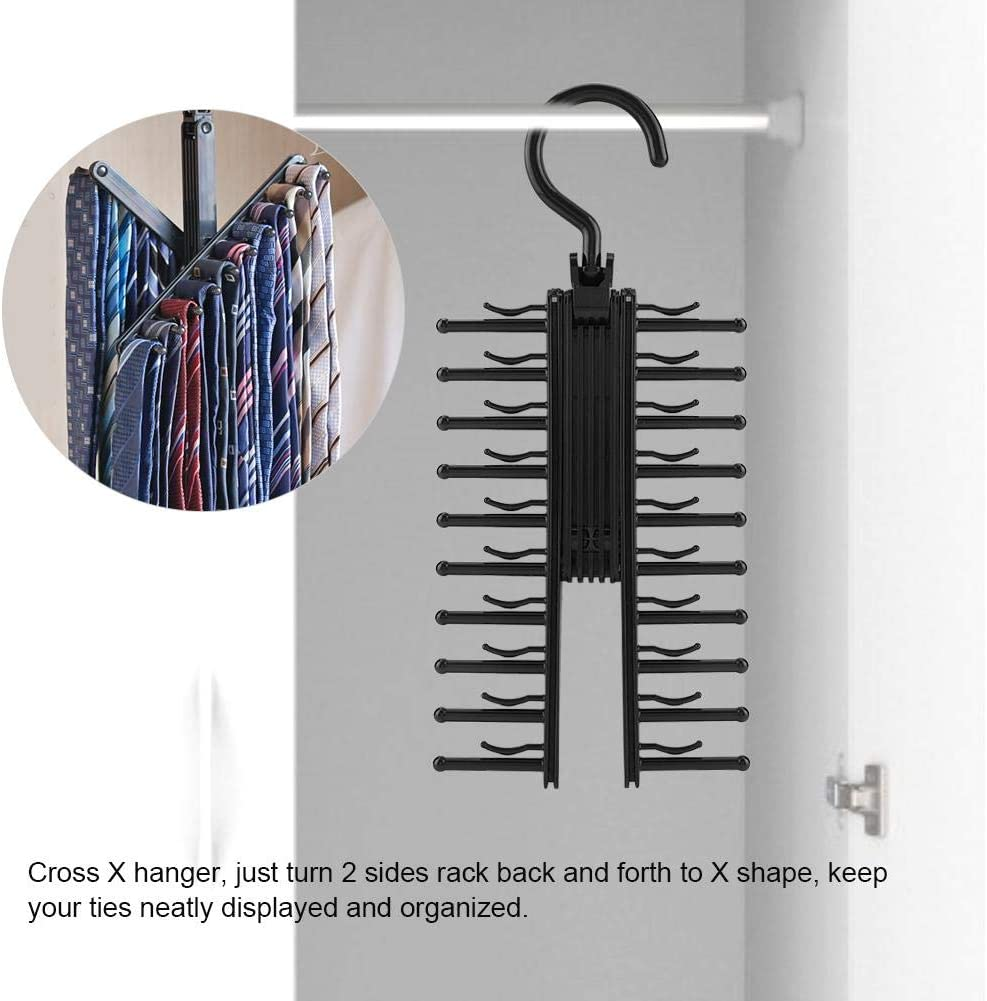 Scarves 360 Degree Swivel Scarves Hanger for Ties 20 Rows Rotate to Open//Close Tie Rack Belts and Accessories Storage Zyyini Tie Organizer