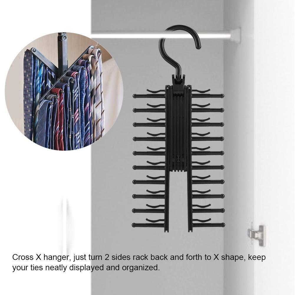 Adlustable Cross X Tie Rack Belt Scarves Hook Hanger Holder Organizer 360 Degree Rotation