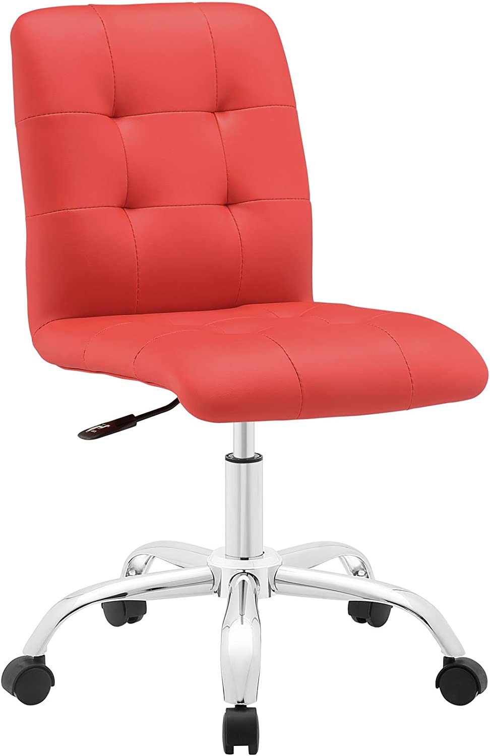 Modway Prim Ribbed Armless Mid Back Swivel Conference Office Chair In Red