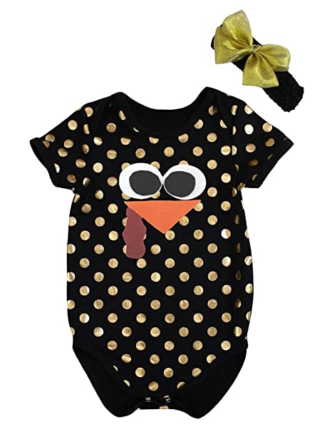 petitebella de acción de gracias Turkey cara oro lunares negro juego de Pelele para bebé nb-18 m: Amazon.es: Ropa y accesorios