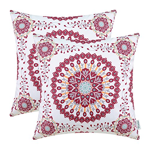 Pack of 2 CaliTime Cozy Fleece Throw Pillow Cases Covers for Couch Bed Sofa, Fantasy Compass Floral Print, 18 X 18 Inches, Main Red (And Red Teal Christmas)