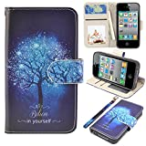 iPhone 4s Case, iPhone 4 case, MagicSky iPhone 4/4S Wallet Case, Premium PU Leather Funny Case Flip Cover with Card Slots & Stand for iPhone 4/4S, Believe in Yourself