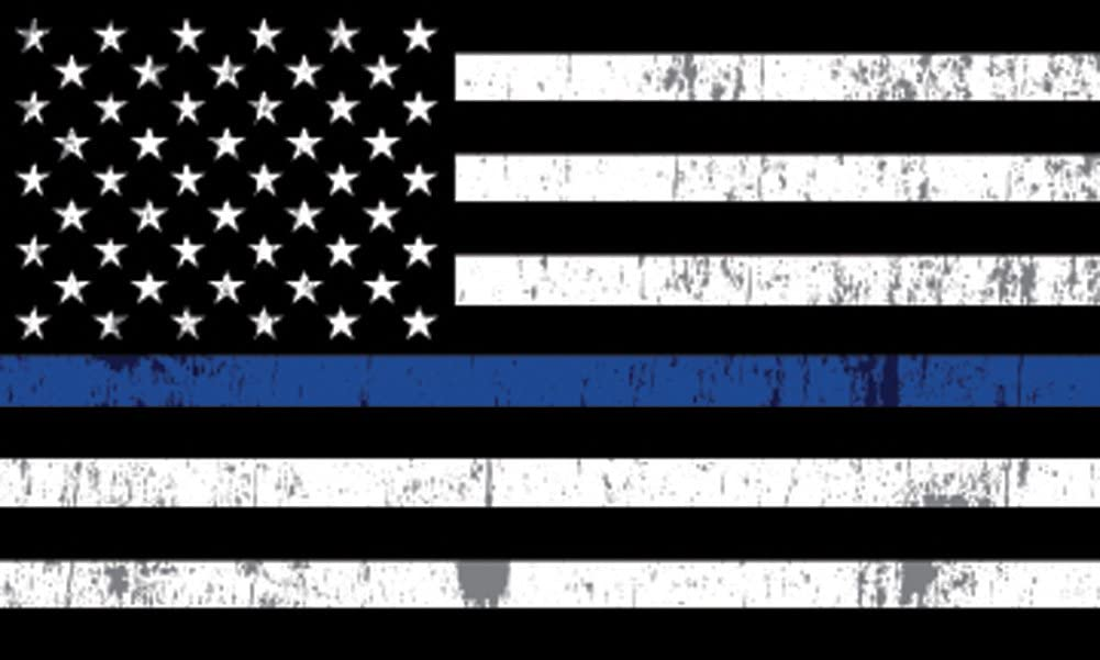 "Thin Blue Line Blue Lives Matter Flag Sticker 5x3"" Vinyl Decal Support of Police and Law Enforcement Officers Flag"