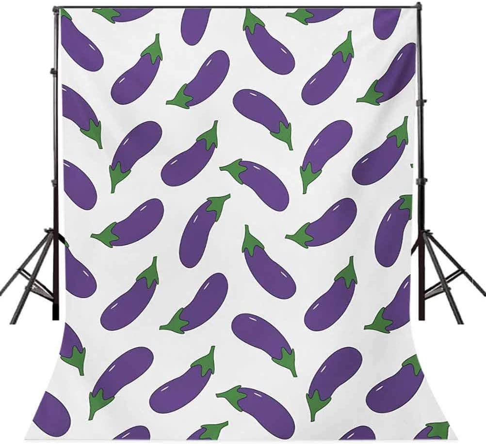 Eggplant 10x15 FT Backdrop Photographers,Yummy and Funny Eggplants Kid Friendly Drawing Nutritious Meals Vegan Natural Background for Party Home Decor Outdoorsy Theme Vinyl Shoot Props Violet White