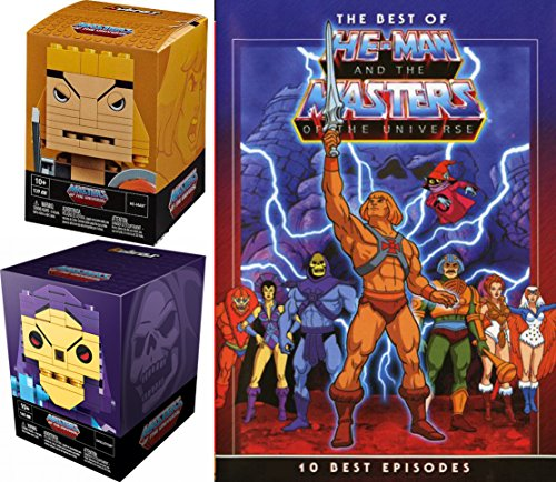 MoTU Best Of He-Man Buildable Figures Skeletor Block Heads - 10 Episodes Masters of the Universe 2-DVD with Documentary & 2 Brick Building bundle