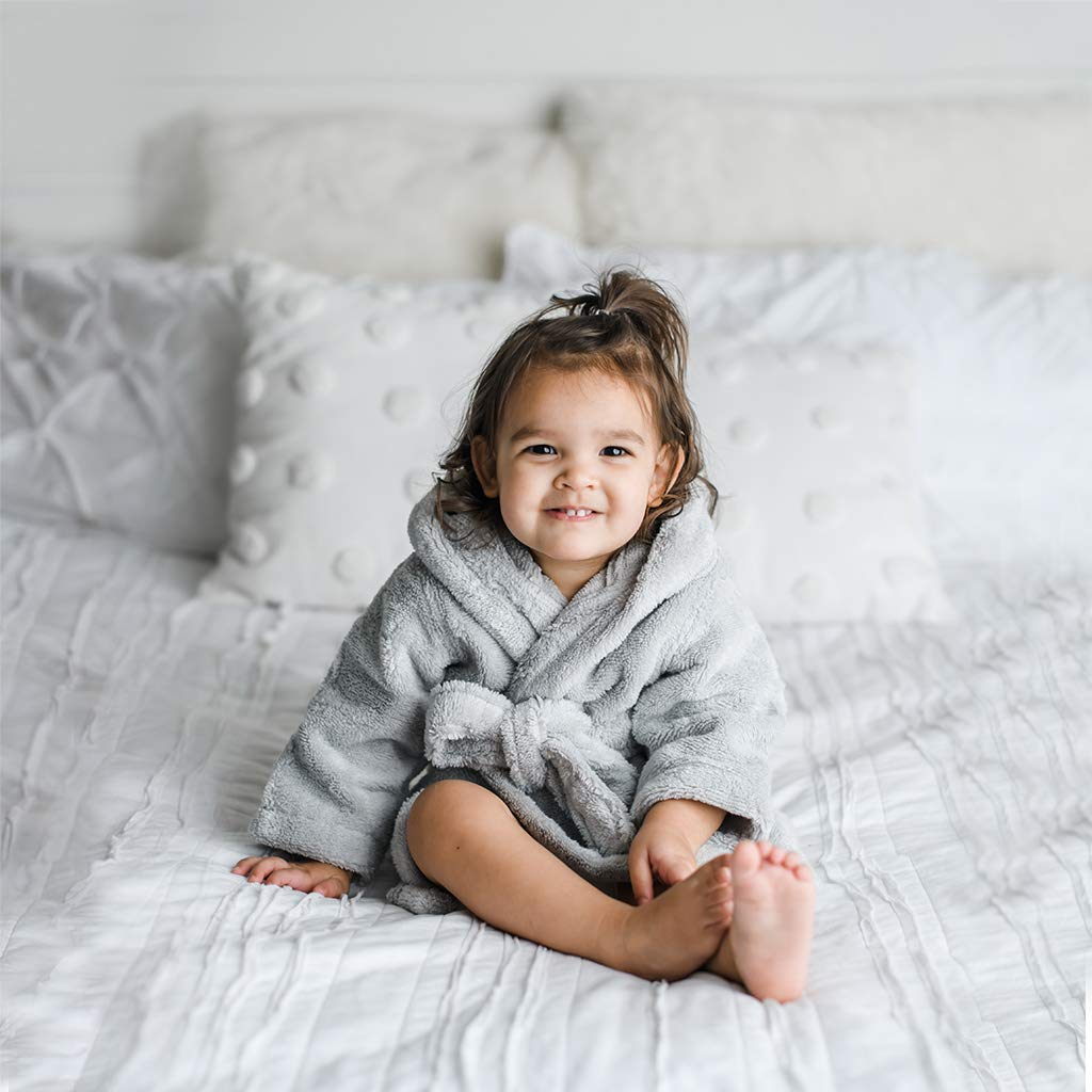 Ultra Soft and Absorbent GOTS Certified Turkish Cotton Kids Robe Natemia Organic Hooded Bathrobe for Babies and Toddlers Made in Turkey
