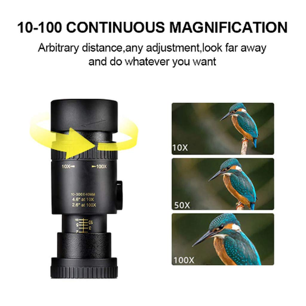 4K 10-300X40mm Super Telephoto Zoom Monocular Telescope Waterproof Fogproof Night Vision Monocular with Smartphone Holder /& Tripod for Hunting//Camping//Hiking//Travelling//Bird Watching A
