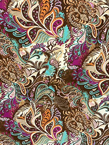 Floral Paisley Brown Faux Silk Satin Fabric 48