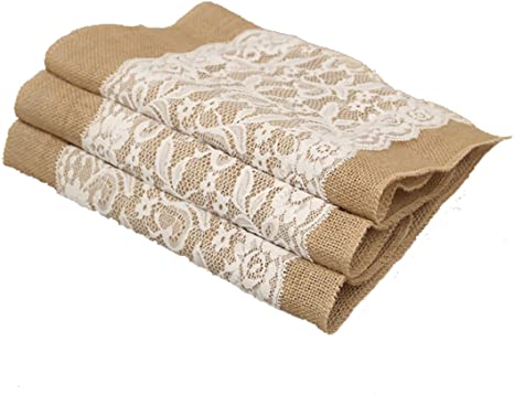 5//10× Vintage Burlap Hessian Lace Table Runner Rustic Wedding Baby Shower Decor