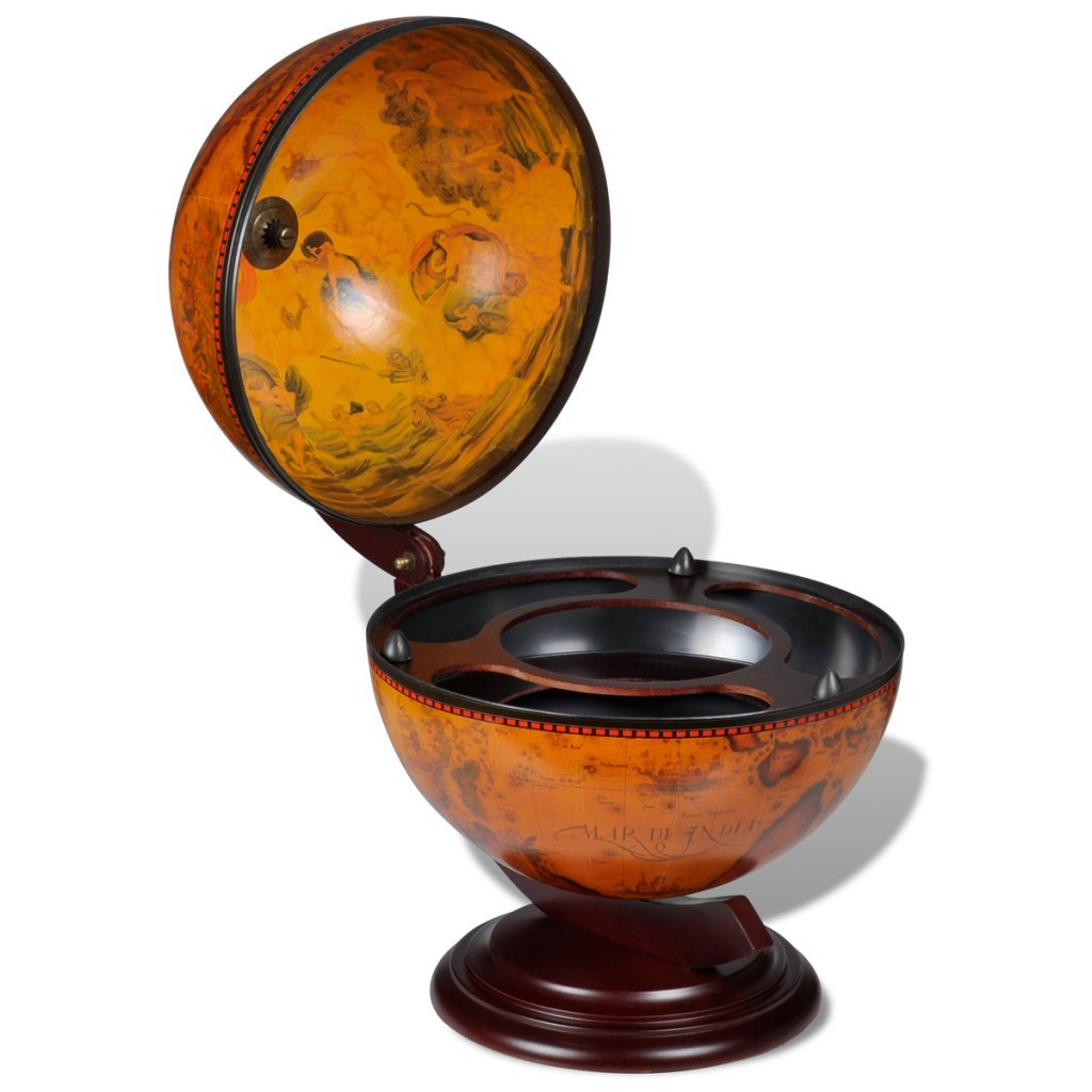 vidaXL Tabletop Bar Globe with Embowed Solid Wood Stand Wine Liquor Table Stand