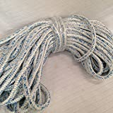 3/4'' By 200 Feet 12 Carrier, 24 Strand Polyester Arborist Bull Rope, White/Blue
