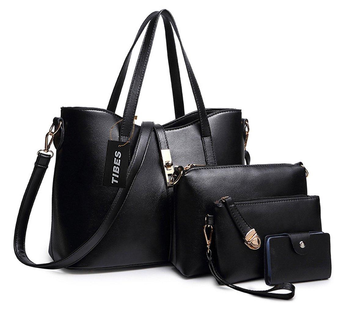 Tibes Fashion Women's PU Leather Handbag+Shoulder Bag+Purse+Card Holder 4pcs Set Tote Black by TIBES