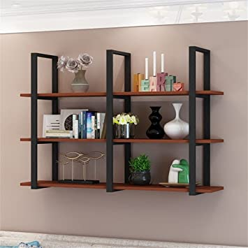 amazon com black iron solid wood wall shelf as bookshelf storage rh amazon com black decorative wall shelves small black decorative shelves